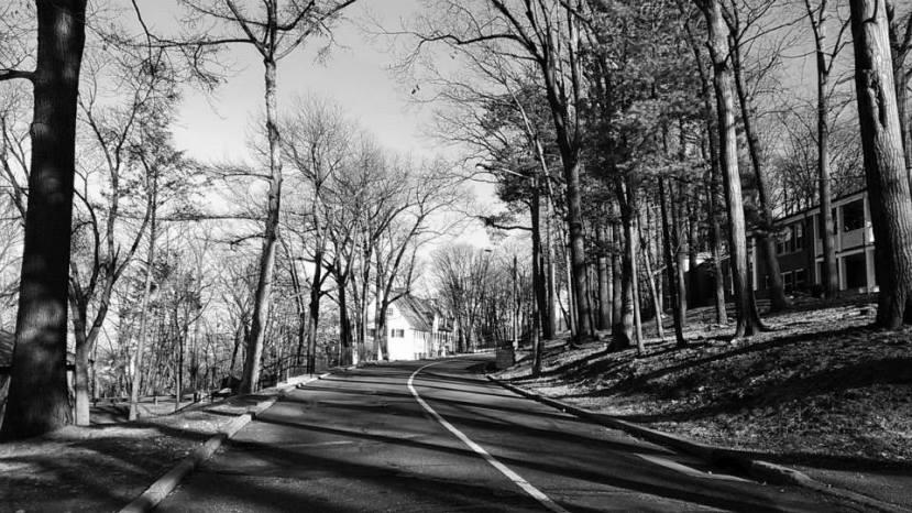 Pemandangan salah satu jalan di dalam kampus Lehigh di musim dingin
