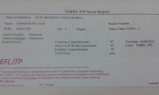 Hasil Tes TOEFL ITP 2