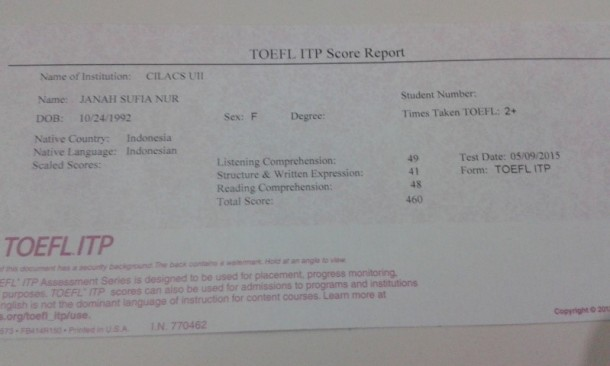 Hasil Tes TOEFL ITP 1
